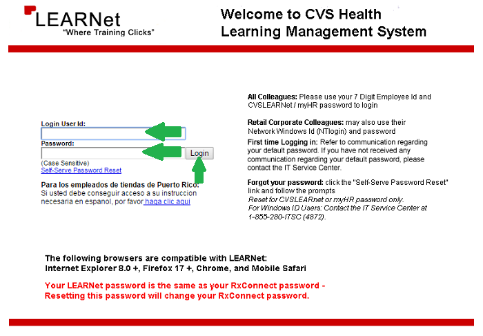 CVS Learnet login homepage cvs employee login page