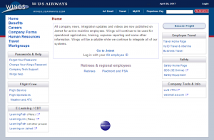 US Airways Wings Login at wings.usairways.com