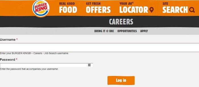 burger king employee login