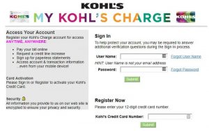 Kohl's Charge Account Login at credit.kohls.com