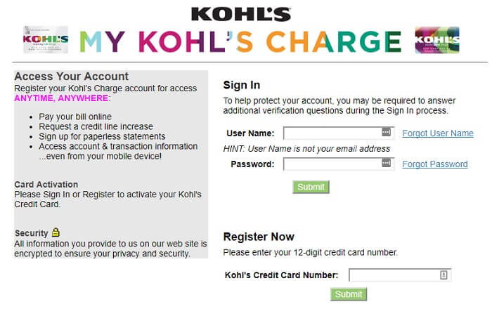 Kohl's Charge Account Login