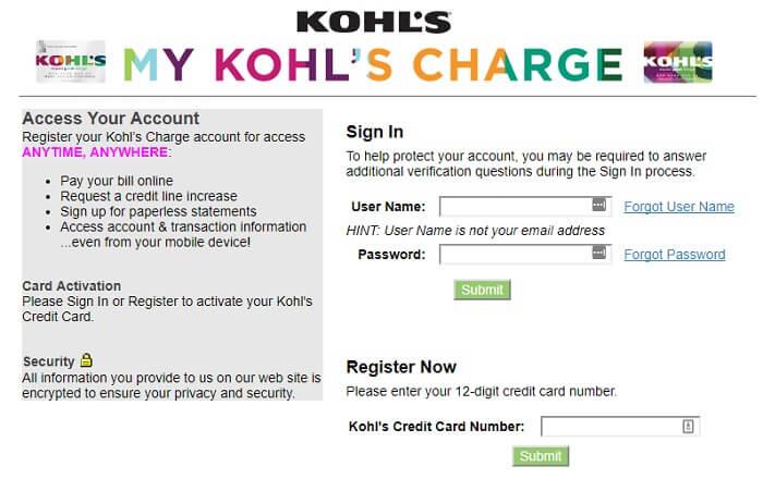Kohl's Charge Account Login