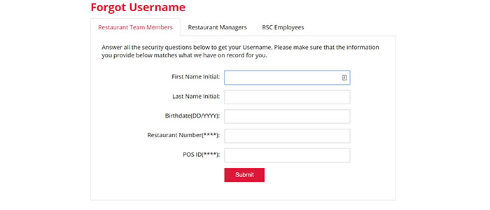 Red Lobster Employee Login forgot user
